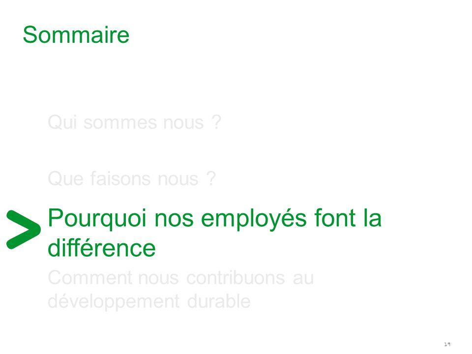 19 Pourquoi nos employés font la différence Sommaire Qui sommes nous ? Que faisons nous ? Comment nous contribuons au développement durable