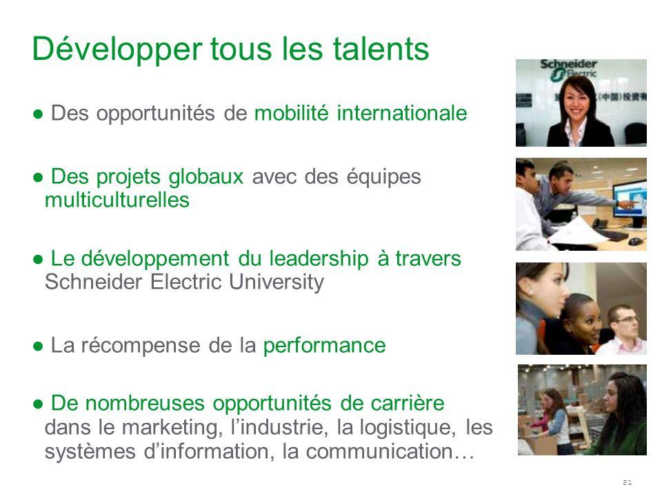 21 Développer tous les talents Des opportunités de mobilité internationale Des projets globaux avec des équipes multiculturelles Le développement du l