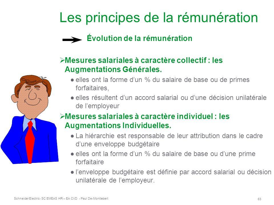 Schneider Electric 63 - SC EMEAS HR – EA CVD - Paul De-Montlebert Les principes de la rémunération Évolution de la rémunération Mesures salariales à caractère collectif : les Augmentations Générales.