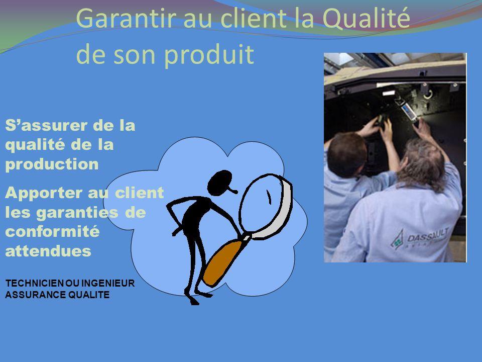 Garantir au client la Qualité de son produit Sassurer de la qualité de la production Apporter au client les garanties de conformité attendues TECHNICI