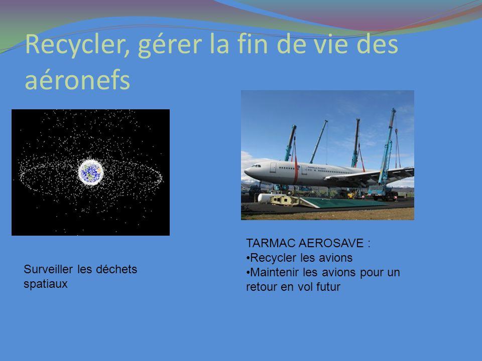 Recycler, gérer la fin de vie des aéronefs TARMAC AEROSAVE : Recycler les avions Maintenir les avions pour un retour en vol futur Surveiller les déche