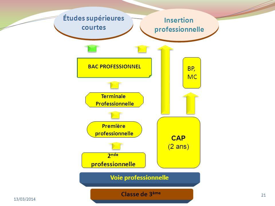 13/03/2014 21 Classe de 3 ème CAP (2 ans) CAP (2 ans) BP, MC BP, MC Études supérieures courtes Études supérieures courtes Voie professionnelle 2 nde p