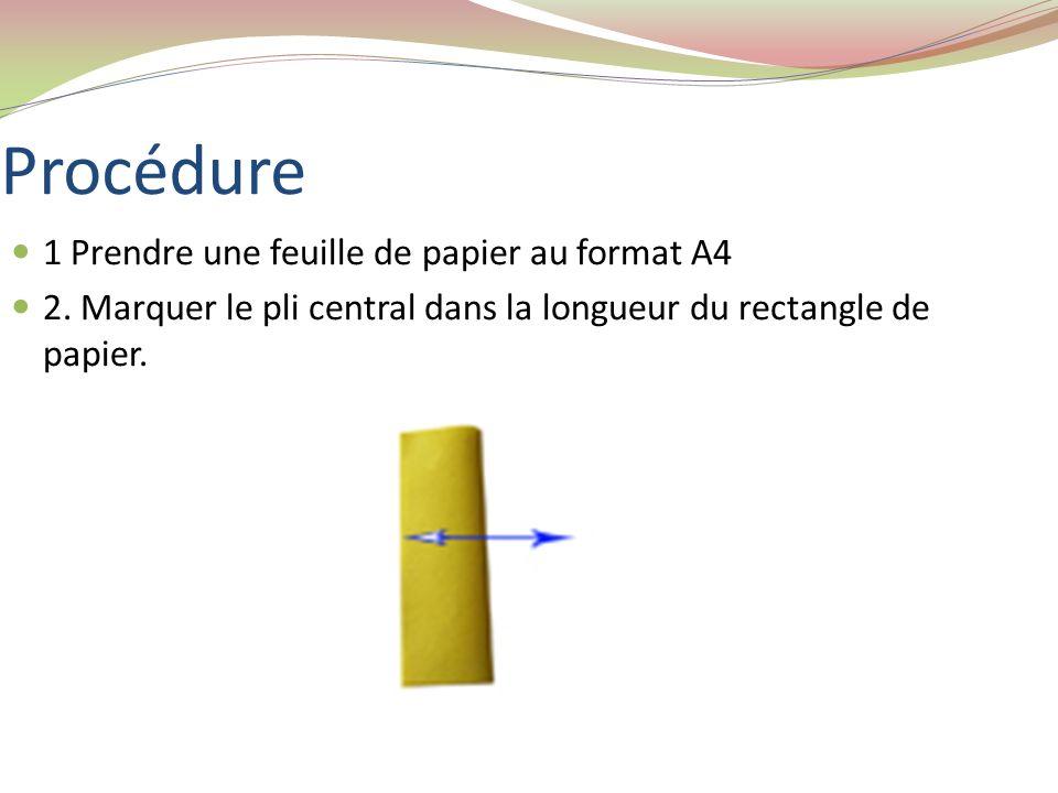 Procédure 1 Prendre une feuille de papier au format A4 2. Marquer le pli central dans la longueur du rectangle de papier.