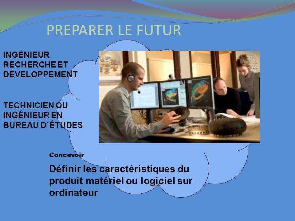 PREPARER LE FUTUR INGÉNIEUR RECHERCHE ET DÉVELOPPEMENT Définir les caractéristiques du produit matériel ou logiciel sur ordinateur Concevoir TECHNICIE