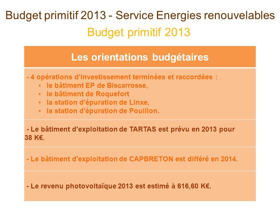 Budget primitif 2013 Budget primitif 2013 - Service Energies renouvelables Les orientations budgétaires - 4 opérations d investissement terminées et raccordées : le bâtiment EP de Biscarrosse, le bâtiment de Roquefort la station d épuration de Linxe, la station d épuration de Pouillon.