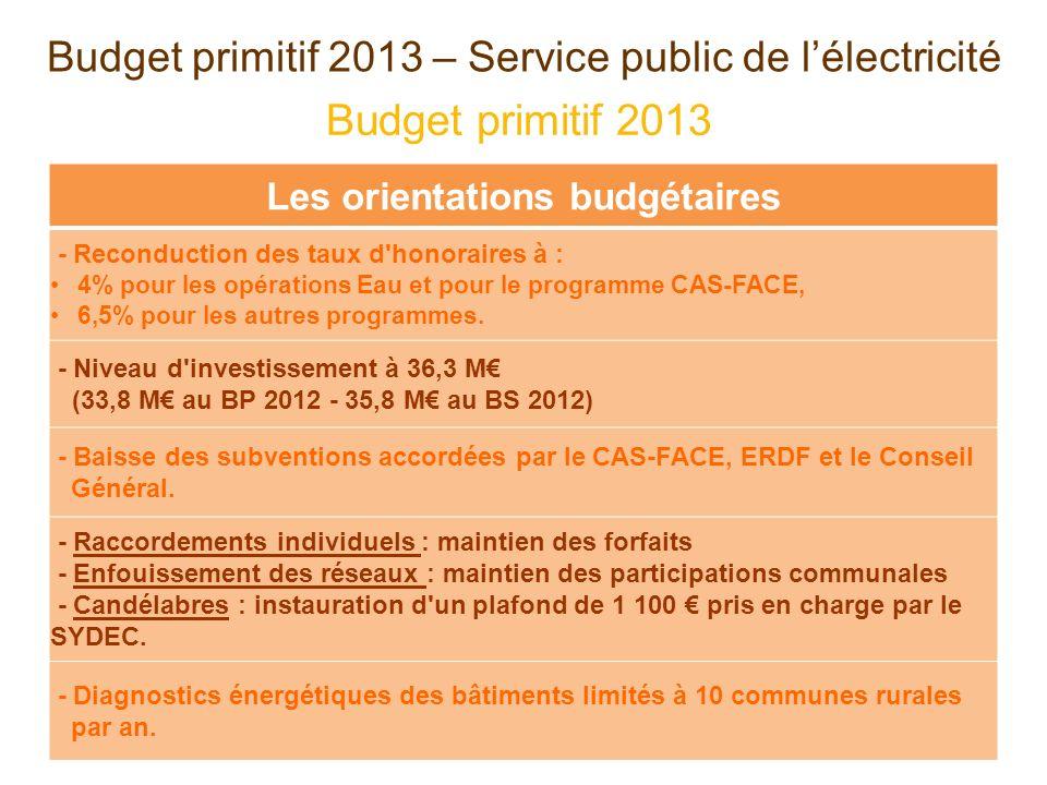 Budget primitif 2013 – Service public de lélectricité Budget primitif 2013 Les orientations budgétaires - Reconduction des taux d honoraires à : 4% pour les opérations Eau et pour le programme CAS-FACE, 6,5% pour les autres programmes.