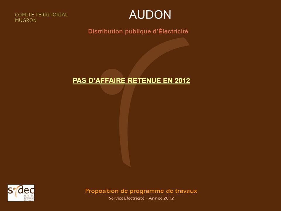 Proposition de programme de travaux Service Electricité – Année 2012 AUDON Distribution publique dÉlectricité COMITE TERRITORIAL MUGRON PAS DAFFAIRE RETENUE EN 2012