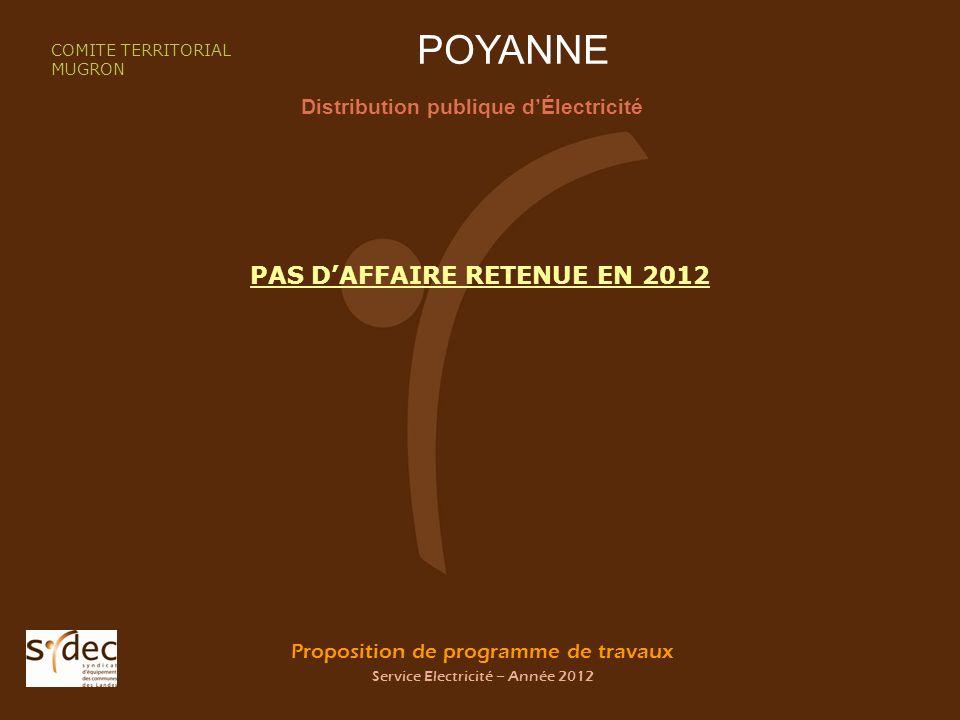 Proposition de programme de travaux Service Electricité – Année 2012 POYANNE Distribution publique dÉlectricité COMITE TERRITORIAL MUGRON PAS DAFFAIRE RETENUE EN 2012
