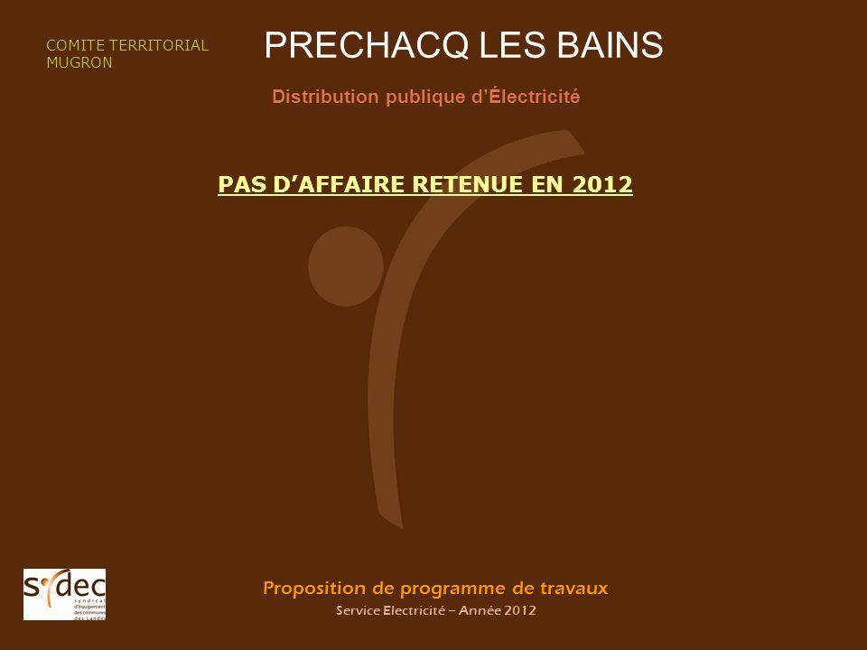 Proposition de programme de travaux Service Electricité – Année 2012 PRECHACQ LES BAINS Distribution publique dÉlectricité COMITE TERRITORIAL MUGRON PAS DAFFAIRE RETENUE EN 2012