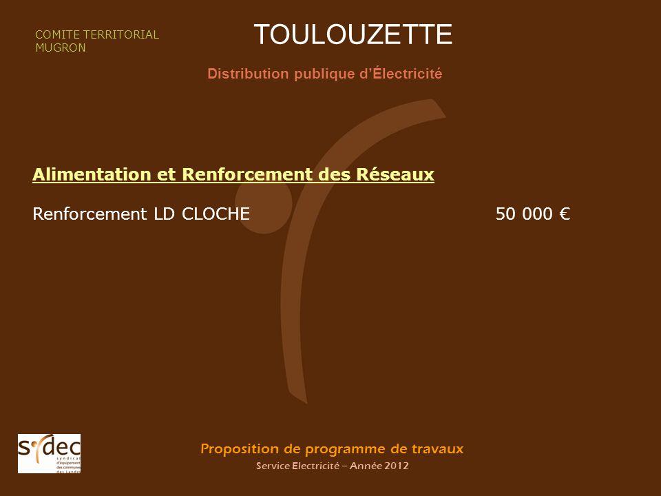 Proposition de programme de travaux Service Electricité – Année 2012 TOULOUZETTE Distribution publique dÉlectricité COMITE TERRITORIAL MUGRON Alimentation et Renforcement des Réseaux Renforcement LD CLOCHE50 000