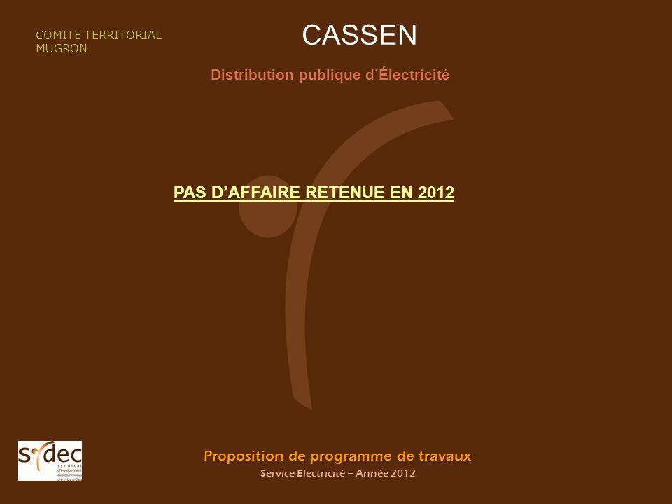 Proposition de programme de travaux Service Electricité – Année 2012 CASSEN Distribution publique dÉlectricité COMITE TERRITORIAL MUGRON PAS DAFFAIRE RETENUE EN 2012