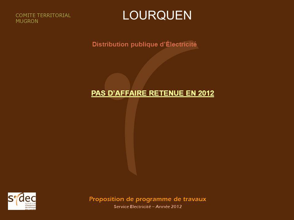Proposition de programme de travaux Service Electricité – Année 2012 LOURQUEN Distribution publique dÉlectricité COMITE TERRITORIAL MUGRON PAS DAFFAIRE RETENUE EN 2012