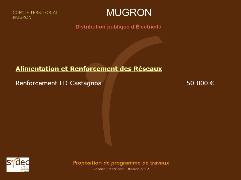 Proposition de programme de travaux Service Electricité – Année 2012 MUGRON Distribution publique dÉlectricité COMITE TERRITORIAL MUGRON Alimentation et Renforcement des Réseaux Renforcement LD Castagnos 50 000