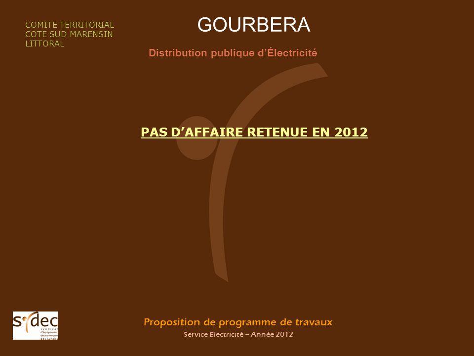 Proposition de programme de travaux Service Electricité – Année 2012 GOURBERA Distribution publique dÉlectricité COMITE TERRITORIAL COTE SUD MARENSIN LITTORAL PAS DAFFAIRE RETENUE EN 2012