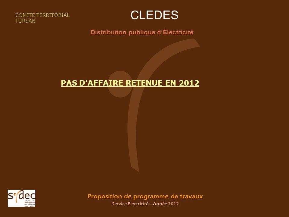 Proposition de programme de travaux Service Electricité – Année 2012 CLEDES Distribution publique dÉlectricité COMITE TERRITORIAL TURSAN PAS DAFFAIRE RETENUE EN 2012