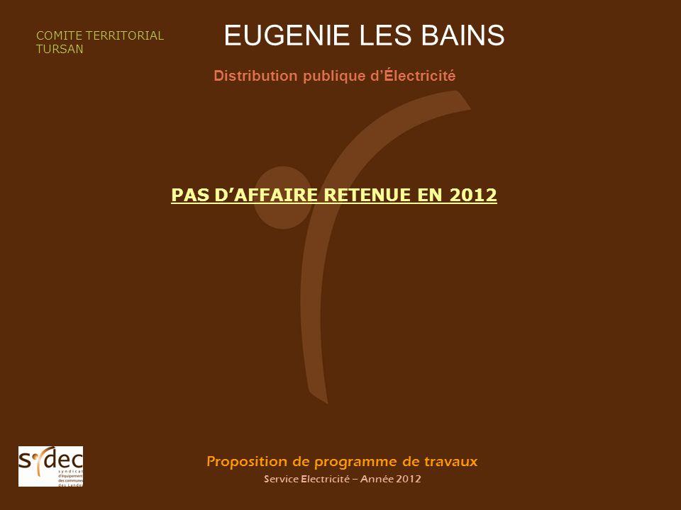 Proposition de programme de travaux Service Electricité – Année 2012 EUGENIE LES BAINS Distribution publique dÉlectricité COMITE TERRITORIAL TURSAN PAS DAFFAIRE RETENUE EN 2012