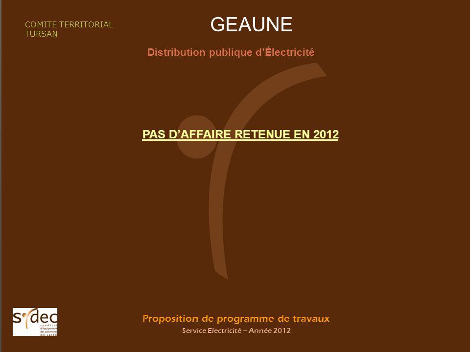 Proposition de programme de travaux Service Electricité – Année 2012 GEAUNE Distribution publique dÉlectricité COMITE TERRITORIAL TURSAN PAS DAFFAIRE RETENUE EN 2012