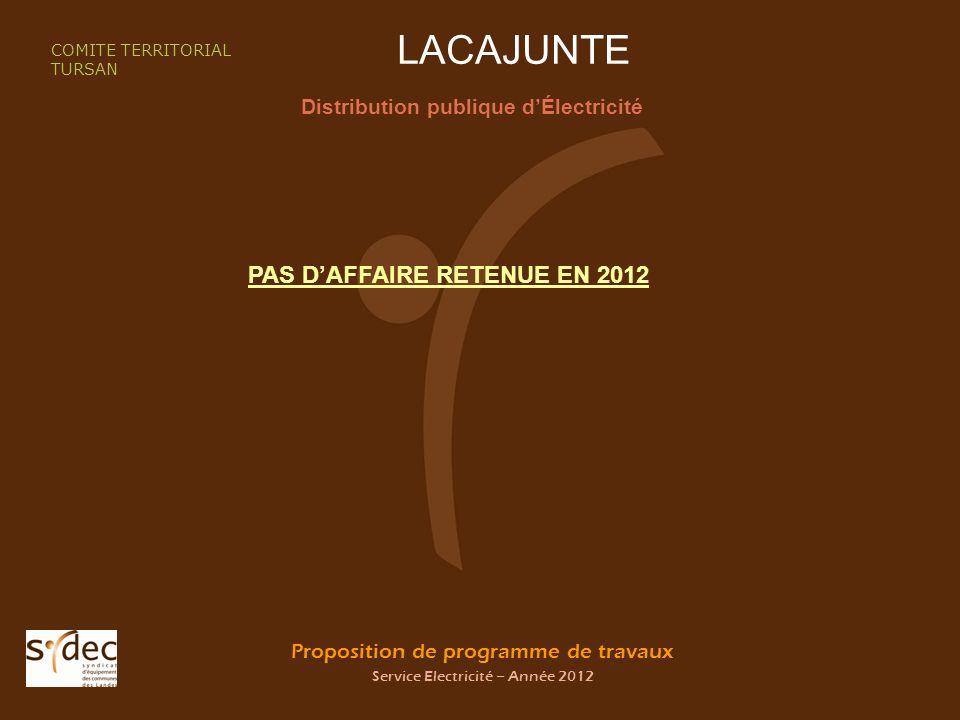 Proposition de programme de travaux Service Electricité – Année 2012 LACAJUNTE Distribution publique dÉlectricité COMITE TERRITORIAL TURSAN PAS DAFFAIRE RETENUE EN 2012