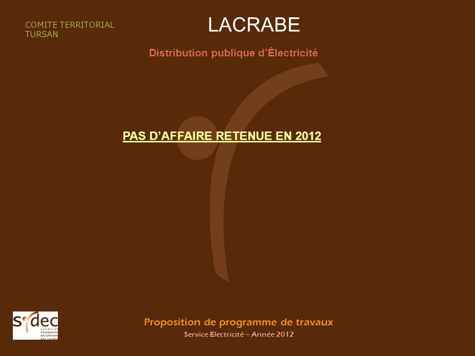 Proposition de programme de travaux Service Electricité – Année 2012 LACRABE Distribution publique dÉlectricité COMITE TERRITORIAL TURSAN PAS DAFFAIRE RETENUE EN 2012
