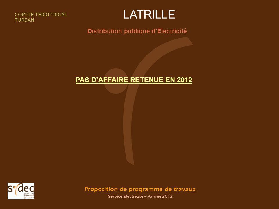 Proposition de programme de travaux Service Electricité – Année 2012 LATRILLE Distribution publique dÉlectricité COMITE TERRITORIAL TURSAN PAS DAFFAIRE RETENUE EN 2012
