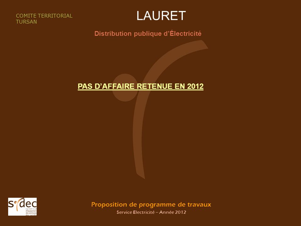 Proposition de programme de travaux Service Electricité – Année 2012 LAURET Distribution publique dÉlectricité COMITE TERRITORIAL TURSAN PAS DAFFAIRE RETENUE EN 2012