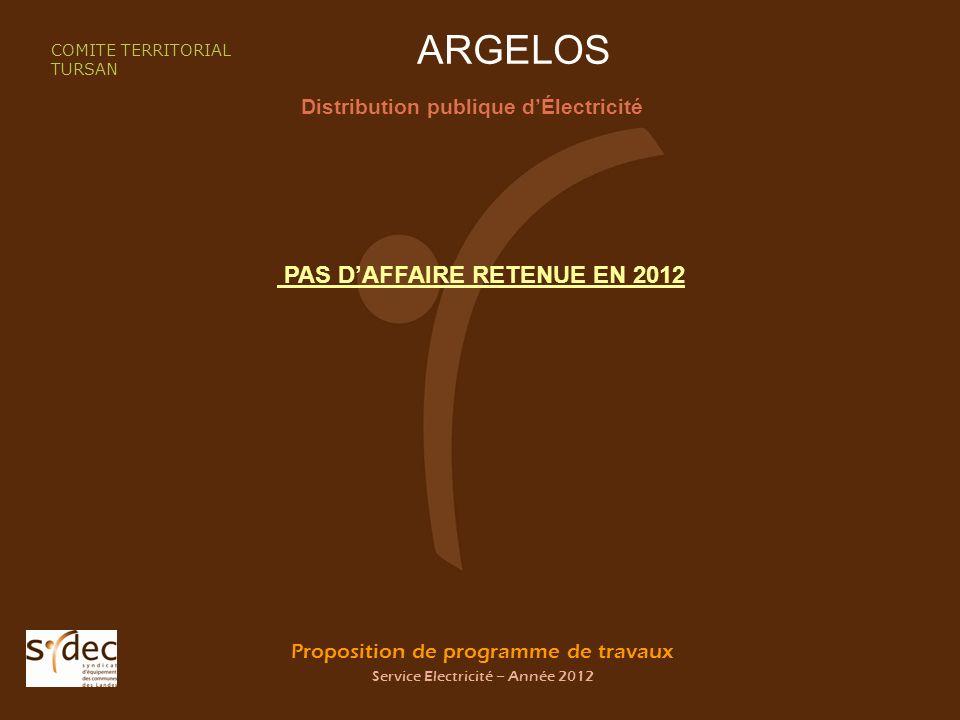 Proposition de programme de travaux Service Electricité – Année 2012 ARGELOS Distribution publique dÉlectricité COMITE TERRITORIAL TURSAN PAS DAFFAIRE RETENUE EN 2012