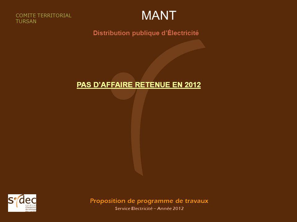 Proposition de programme de travaux Service Electricité – Année 2012 MANT Distribution publique dÉlectricité COMITE TERRITORIAL TURSAN PAS DAFFAIRE RETENUE EN 2012
