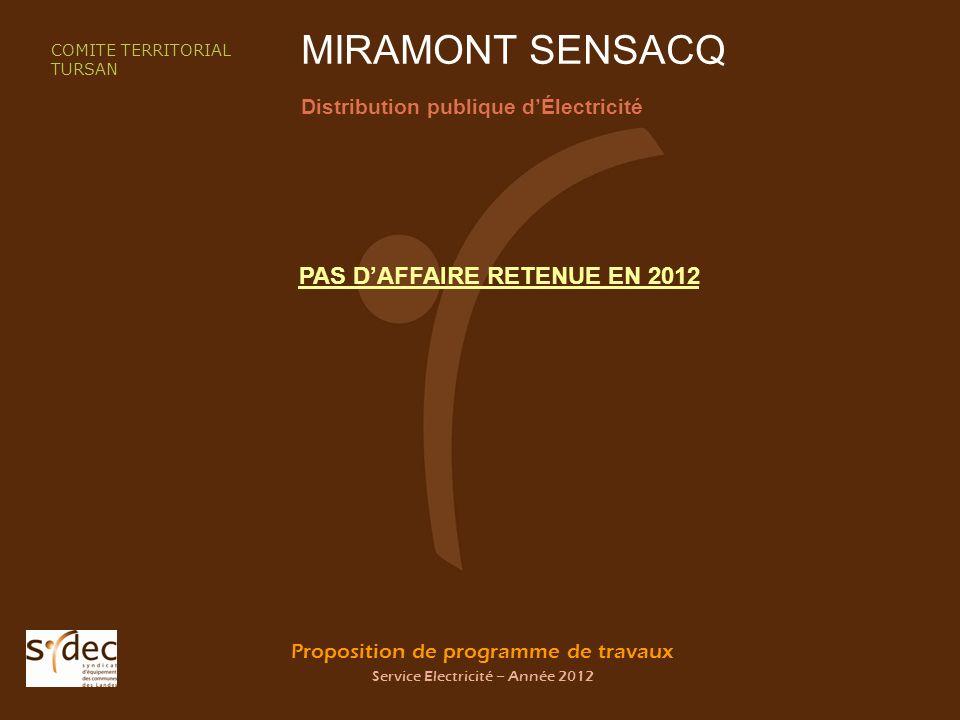 Proposition de programme de travaux Service Electricité – Année 2012 MIRAMONT SENSACQ Distribution publique dÉlectricité COMITE TERRITORIAL TURSAN PAS DAFFAIRE RETENUE EN 2012