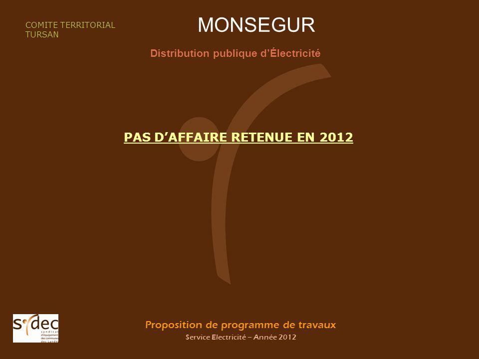 Proposition de programme de travaux Service Electricité – Année 2012 MONSEGUR Distribution publique dÉlectricité COMITE TERRITORIAL TURSAN PAS DAFFAIRE RETENUE EN 2012