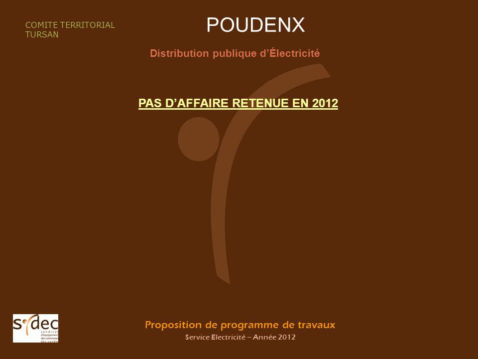 Proposition de programme de travaux Service Electricité – Année 2012 POUDENX Distribution publique dÉlectricité COMITE TERRITORIAL TURSAN PAS DAFFAIRE RETENUE EN 2012
