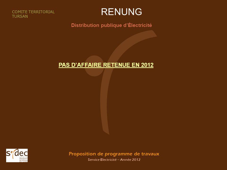 Proposition de programme de travaux Service Electricité – Année 2012 RENUNG Distribution publique dÉlectricité COMITE TERRITORIAL TURSAN PAS DAFFAIRE RETENUE EN 2012