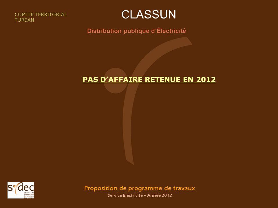 Proposition de programme de travaux Service Electricité – Année 2012 CLASSUN Distribution publique dÉlectricité COMITE TERRITORIAL TURSAN PAS DAFFAIRE RETENUE EN 2012