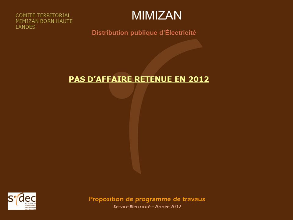 Proposition de programme de travaux Service Electricité – Année 2012 MIMIZAN Distribution publique dÉlectricité COMITE TERRITORIAL MIMIZAN BORN HAUTE LANDES PAS DAFFAIRE RETENUE EN 2012