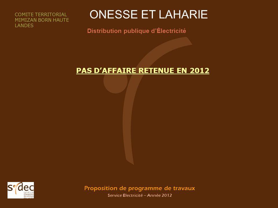 Proposition de programme de travaux Service Electricité – Année 2012 ONESSE ET LAHARIE Distribution publique dÉlectricité COMITE TERRITORIAL MIMIZAN BORN HAUTE LANDES PAS DAFFAIRE RETENUE EN 2012