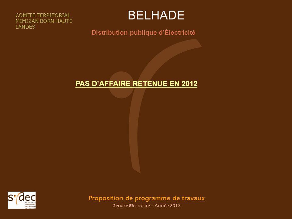 Proposition de programme de travaux Service Electricité – Année 2012 BELHADE Distribution publique dÉlectricité COMITE TERRITORIAL MIMIZAN BORN HAUTE LANDES PAS DAFFAIRE RETENUE EN 2012