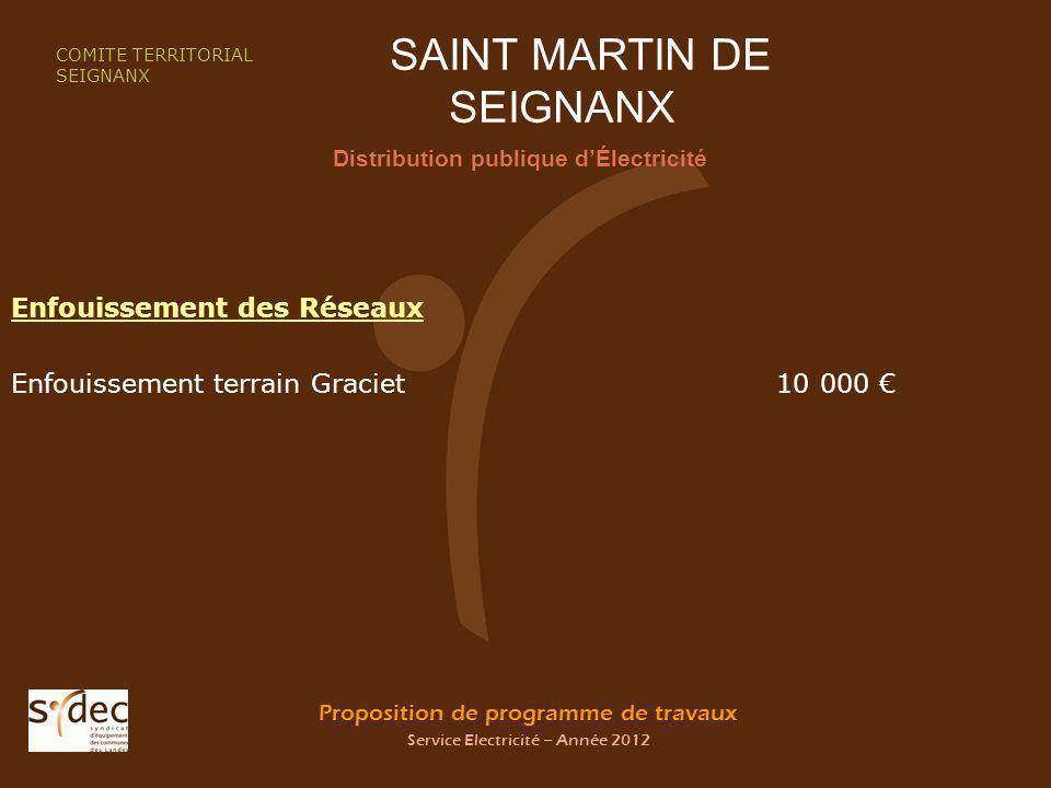 Proposition de programme de travaux Service Electricité – Année 2012 SAINT MARTIN DE SEIGNANX Distribution publique dÉlectricité COMITE TERRITORIAL SEIGNANX Enfouissement des Réseaux Enfouissement terrain Graciet 10 000