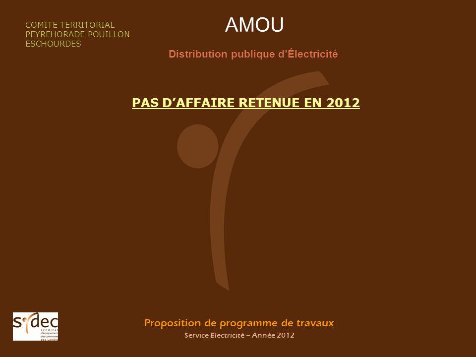 Proposition de programme de travaux Service Electricité – Année 2012 LABATUT Distribution publique dÉlectricité COMITE TERRITORIAL PEYREHORADE POUILLON ESCHOURDES PAS DAFFAIRE RETENUE EN 2012