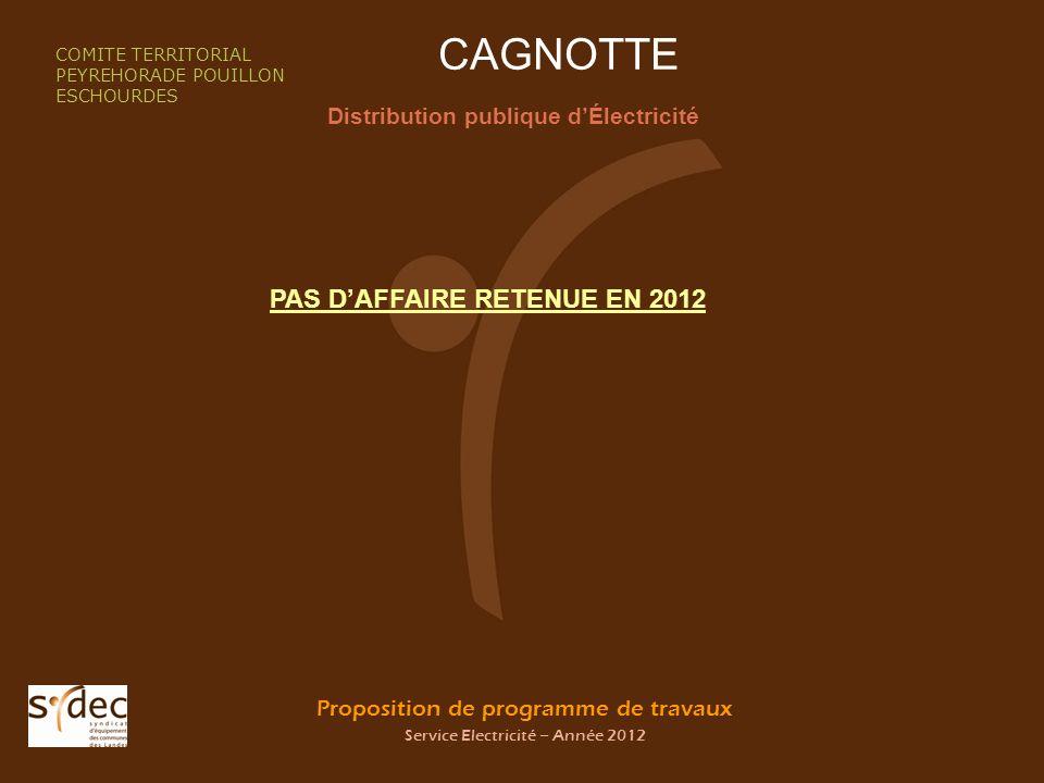 Proposition de programme de travaux Service Electricité – Année 2012 CAGNOTTE Distribution publique dÉlectricité COMITE TERRITORIAL PEYREHORADE POUILL
