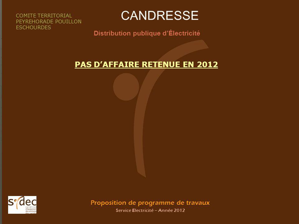 Proposition de programme de travaux Service Electricité – Année 2012 CANDRESSE Distribution publique dÉlectricité COMITE TERRITORIAL PEYREHORADE POUIL