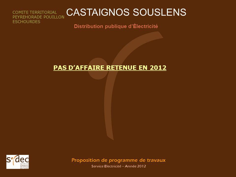 Proposition de programme de travaux Service Electricité – Année 2012 CASTAIGNOS SOUSLENS Distribution publique dÉlectricité COMITE TERRITORIAL PEYREHO