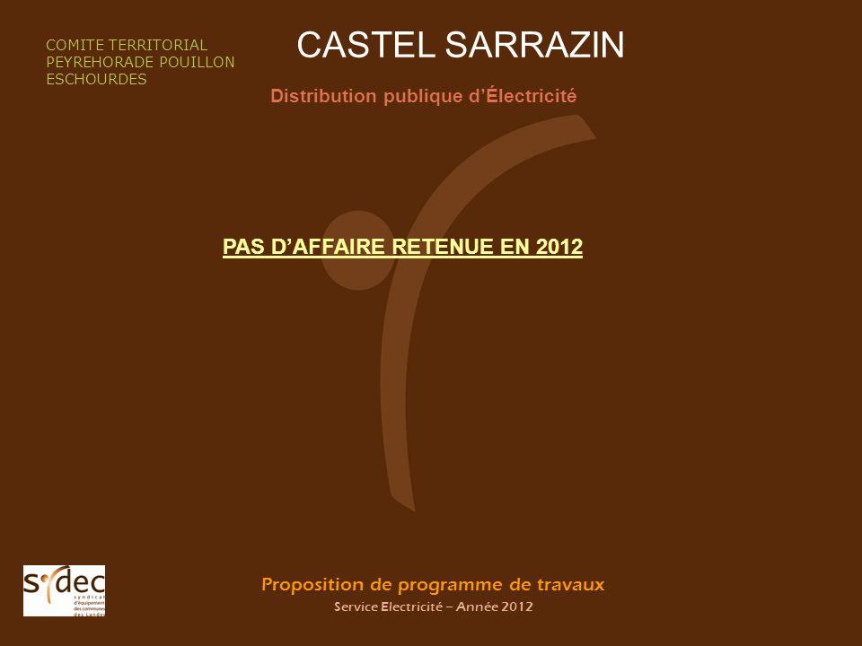 Proposition de programme de travaux Service Electricité – Année 2012 CASTEL SARRAZIN Distribution publique dÉlectricité COMITE TERRITORIAL PEYREHORADE