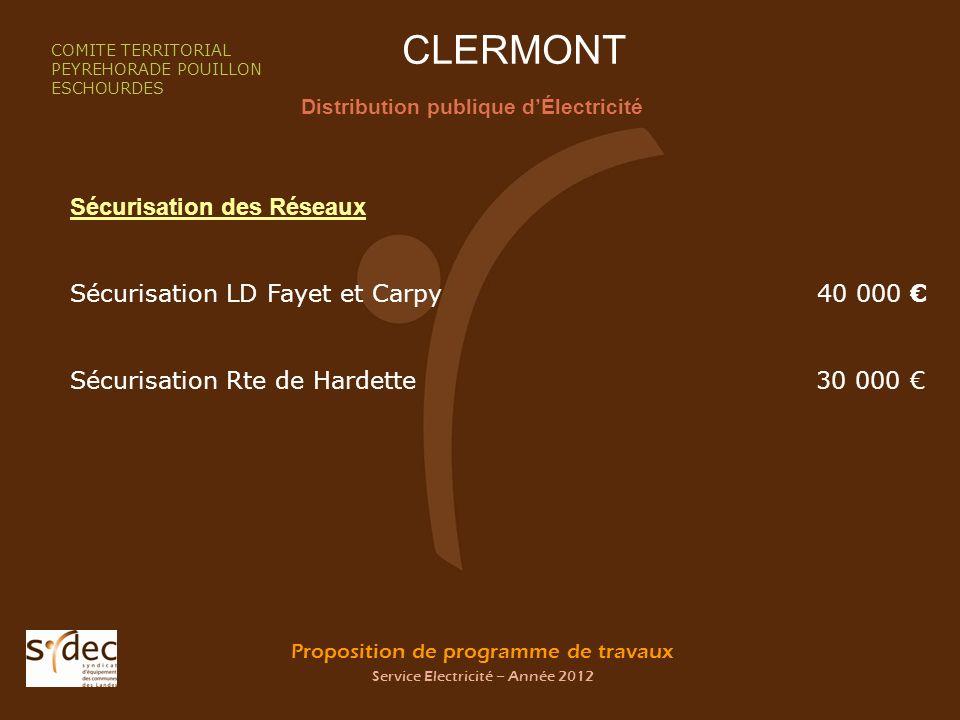 Proposition de programme de travaux Service Electricité – Année 2012 CLERMONT Distribution publique dÉlectricité COMITE TERRITORIAL PEYREHORADE POUILL