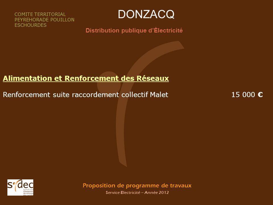 Proposition de programme de travaux Service Electricité – Année 2012 DONZACQ Distribution publique dÉlectricité COMITE TERRITORIAL PEYREHORADE POUILLO