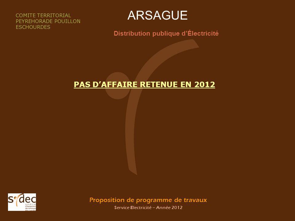 Proposition de programme de travaux Service Electricité – Année 2012 ARSAGUE Distribution publique dÉlectricité COMITE TERRITORIAL PEYREHORADE POUILLO