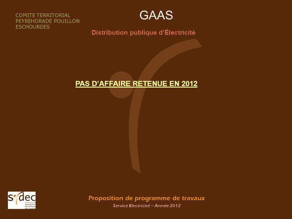 Proposition de programme de travaux Service Electricité – Année 2012 GAAS Distribution publique dÉlectricité COMITE TERRITORIAL PEYREHORADE POUILLON E