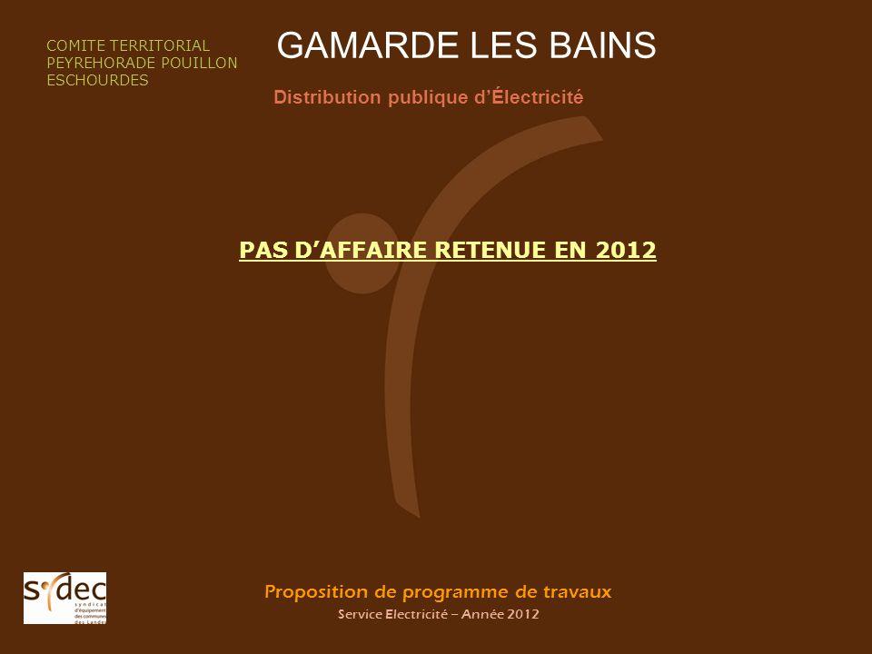 Proposition de programme de travaux Service Electricité – Année 2012 GAMARDE LES BAINS Distribution publique dÉlectricité COMITE TERRITORIAL PEYREHORA