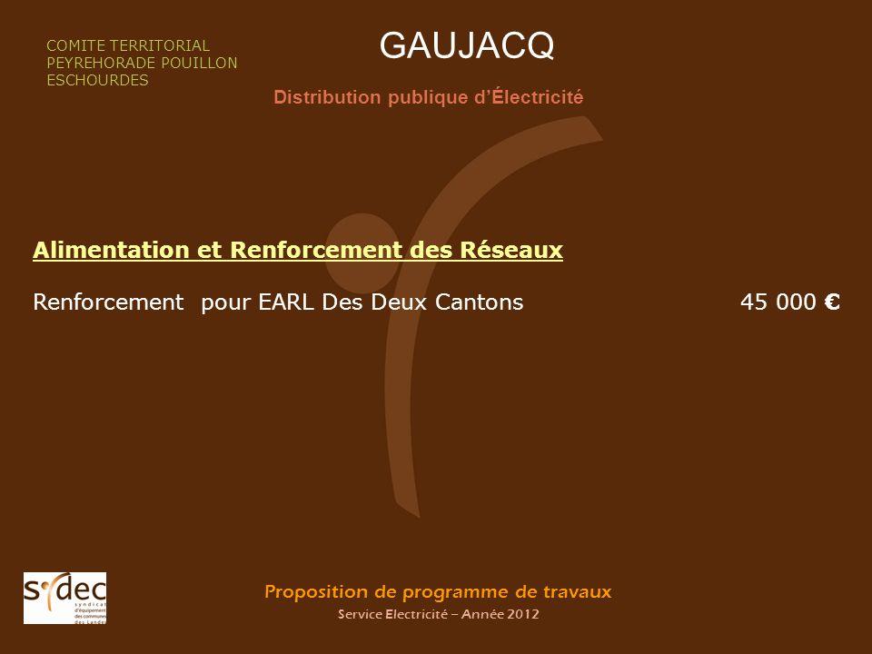 Proposition de programme de travaux Service Electricité – Année 2012 GAUJACQ Distribution publique dÉlectricité COMITE TERRITORIAL PEYREHORADE POUILLO