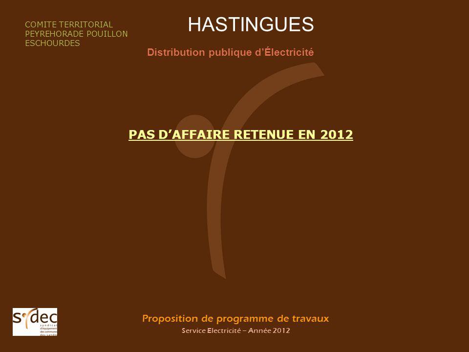 Proposition de programme de travaux Service Electricité – Année 2012 HASTINGUES Distribution publique dÉlectricité COMITE TERRITORIAL PEYREHORADE POUI