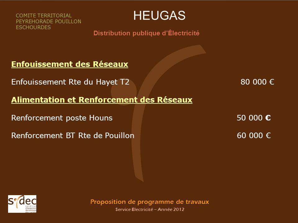 Proposition de programme de travaux Service Electricité – Année 2012 HEUGAS Distribution publique dÉlectricité COMITE TERRITORIAL PEYREHORADE POUILLON