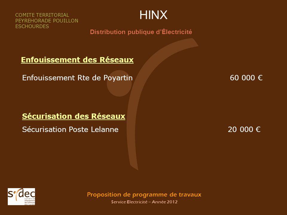 Proposition de programme de travaux Service Electricité – Année 2012 HINX Distribution publique dÉlectricité COMITE TERRITORIAL PEYREHORADE POUILLON E